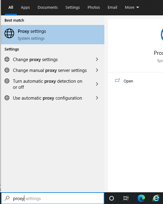 Proxy Settings Search